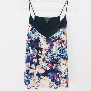 Worthington Blue Floral Cami Spaghetti Strap Top